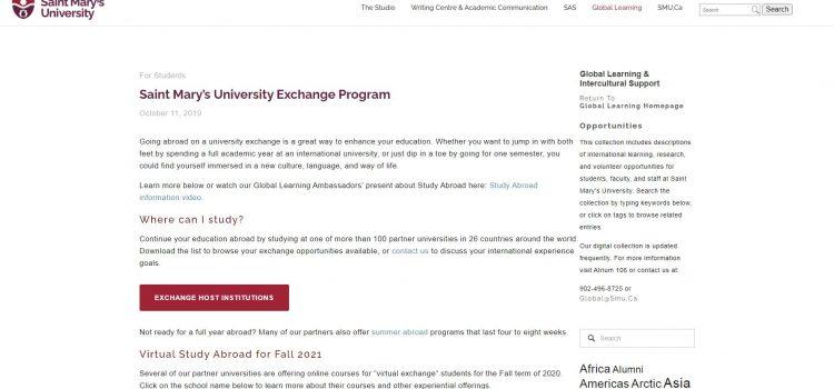 Saint Mary's University Exchange Program